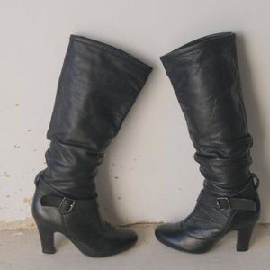 Vintage 80s Black Knee High Slouchy Heel Boots 5.5